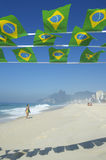 Brazilian Flag Bunting Ipanema Beach Rio Brazil Stock Images