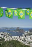 Brazilian Flag Bunting Rio de Janeiro Skyline Scenic Overlook Royalty Free Stock Photography