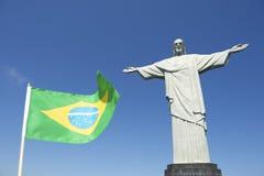Brazilian Flag at Corcovado Rio de Janeiro Royalty Free Stock Photography