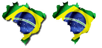 Brazilian Flag Country Outline. Brazilian flag texture as outline of the country. With and without a shadow on isolated white Stock Photos