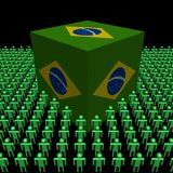 Brazilian flag cube surrounded by people Royalty Free Stock Photography