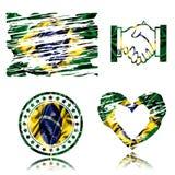 Brazilian flag, 3D illustration. Brazilian flag, best 3D illustration Royalty Free Stock Image