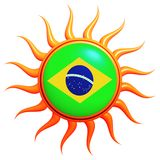 Brazilian flag in 3d sun. With orange rays isolated Royalty Free Stock Image