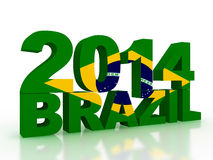 Brazilian flag in 3d text on white background. 3d  render Stock Photography