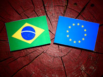 Brazilian flag with EU flag on a tree stump isolated Stock Image