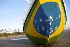 Brazilian Flag Fishing Boat on Brazil Beach Stock Photos