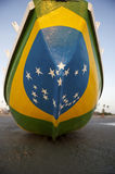 Brazilian Flag Fishing Boat on Brazil Beach Royalty Free Stock Images