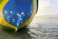 Brazilian Flag Fishing Boat on Brazil Beach Royalty Free Stock Photography
