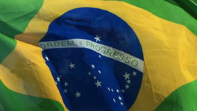 Brazilian Flag Flying in the Wind on Palm Beach stock footage