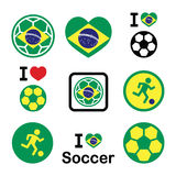 Brazilian flag, football or soccer ball icons set Stock Image