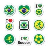 Brazilian flag, football or soccer ball icons set. Soccer ball with flag of Brazil  icons set isolated on white Stock Image