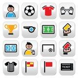 Brazilian flag, football or soccer ball icons set Stock Photography