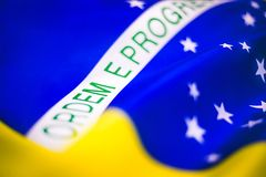 Brazilian Flag In Details From A Side View Stock Photo