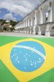 Brazilian Flag at Lapa Arches Rio de Janeiro Brazil Stock Image
