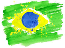 Brazilian flag made of colorful splashes. Background watercolor stains. Hand-drawn texture. Brazilian flag made of colorful splashes  Signs, symbols. Carnival Royalty Free Stock Photos