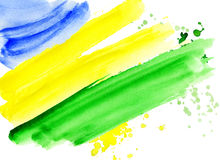 Brazilian flag made of colorful splashes. Background watercolor stains. Hand-drawn texture. Brazilian flag made of colorful splashes  Signs, symbols. Carnival Stock Photos