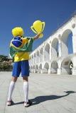 Brazilian Flag Man Arcos da Lapa Arches Rio de Janeiro Royalty Free Stock Images