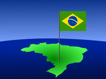 Brazilian flag on map Stock Photography
