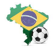 Brazilian flag map and soccer ball isolated Stock Photography