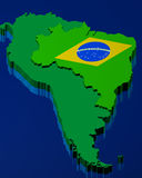 Brazilian flag over the map Royalty Free Stock Photo