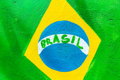 Brazilian flag painted on the wall Stock Photography