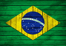Brazilian flag painted on wooden boards Stock Photos