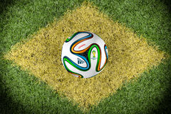 Brazilian Flag on a pitch Stock Photography