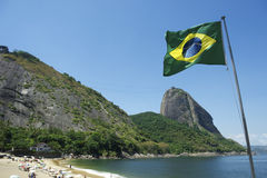 Brazilian Flag Red Beach Sugarloaf Rio Brazil Stock Images