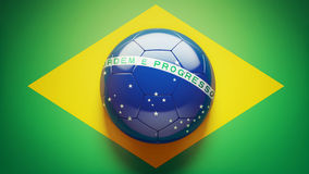 Brazilian Flag Soccer Ball Royalty Free Stock Photography