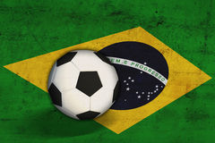 Brazilian flag with  soccer ball Royalty Free Stock Image