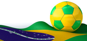 Brazilian Flag And Soccer Ball. A regular stitched panel soccer ball in the iconic brazilian colors of green blue and yellow resting on a draped brazilian flag vector illustration
