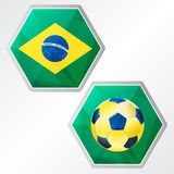 Brazilian flag and soccer ball, two colors hexagons labels. Flat design, football sport concept Royalty Free Stock Images