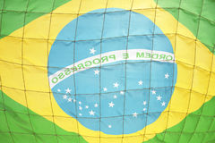Brazilian Flag Soccer Football Goal Net Royalty Free Stock Images