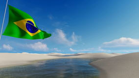Brazilian flag, waving against unique sand dunes. Brazilian flag, waving in wind, against natural background with unique white sand dunes desert and water stock video