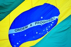 Brazilian flag waving Royalty Free Stock Photos