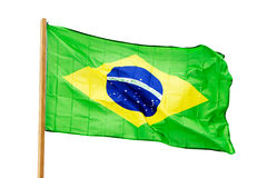 Brazilian flag in  wind isolated on white background Stock Images