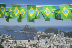 Brazilian Flags Rio de Janeiro Brazil Skyline Royalty Free Stock Photography