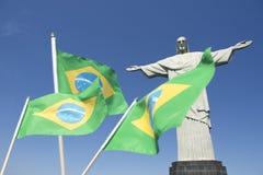 Brazilian Flags Waving at Corcovado Rio de Janeiro Stock Image