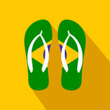 Brazilian flip flops icon, flat style Stock Images