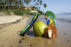 Brazilian Flipflop. On the beach Ilhabela, Sao Paulo state, Brazil stock photo