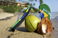 Brazilian Flipflop. On the beach with coconut, Ilhabela, Sao Paulo state, Brazil stock images