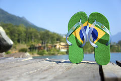 Brazilian Flipflop. On the beach Ilhabela, Sao Paulo state, Brazil stock photography
