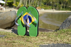 Brazilian Flipflop. On the beach Ilhabela, Sao Paulo state, Brazil stock photos