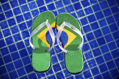Brazilian Flipflop. Floating in front of the swimming pool in Brazil stock images
