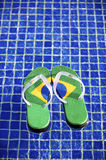 Brazilian Flipflop. Floating in the swimming pool in Brazil stock photos