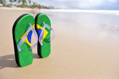 Brazilian flipflop. On the beach in Porto de Galinhas, Brazil stock photos