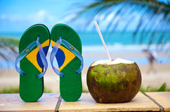 Brazilian flipflop. On the beach in Porto de Galinhas, Brazil royalty free stock images