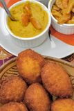 Brazilian food: acaraje with typical fillings. In a table of regional food restaurant stock image