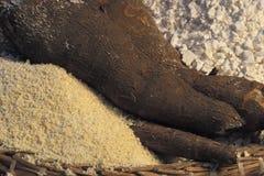 Brazilian food: goma and cassava. Royalty Free Stock Image
