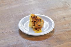 Brazilian food: passion fruit cake with seeds syrup stock images